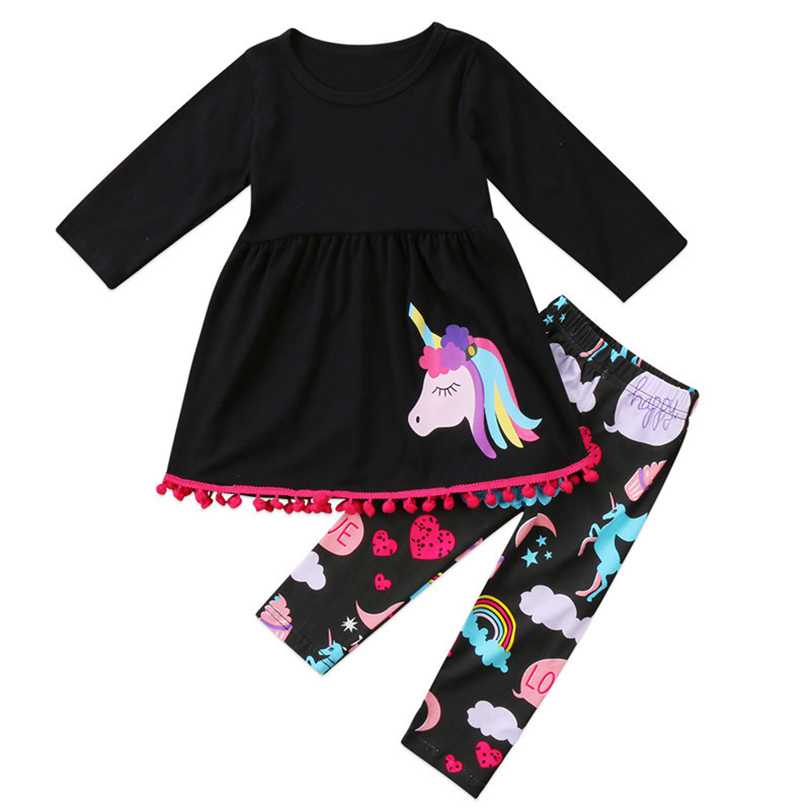 Children Clothes Sets 2018 New Spring Style Kids Black Horse Dress Patter Long Pants 2pc Clothes Suits For Girls Clothing