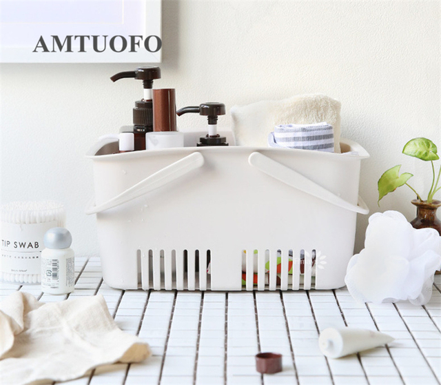 Amtuofo Shower Organizer Shampoo Soap Cosmetics Magazine Books Bathroom Countertops Kitchen Storage Basket