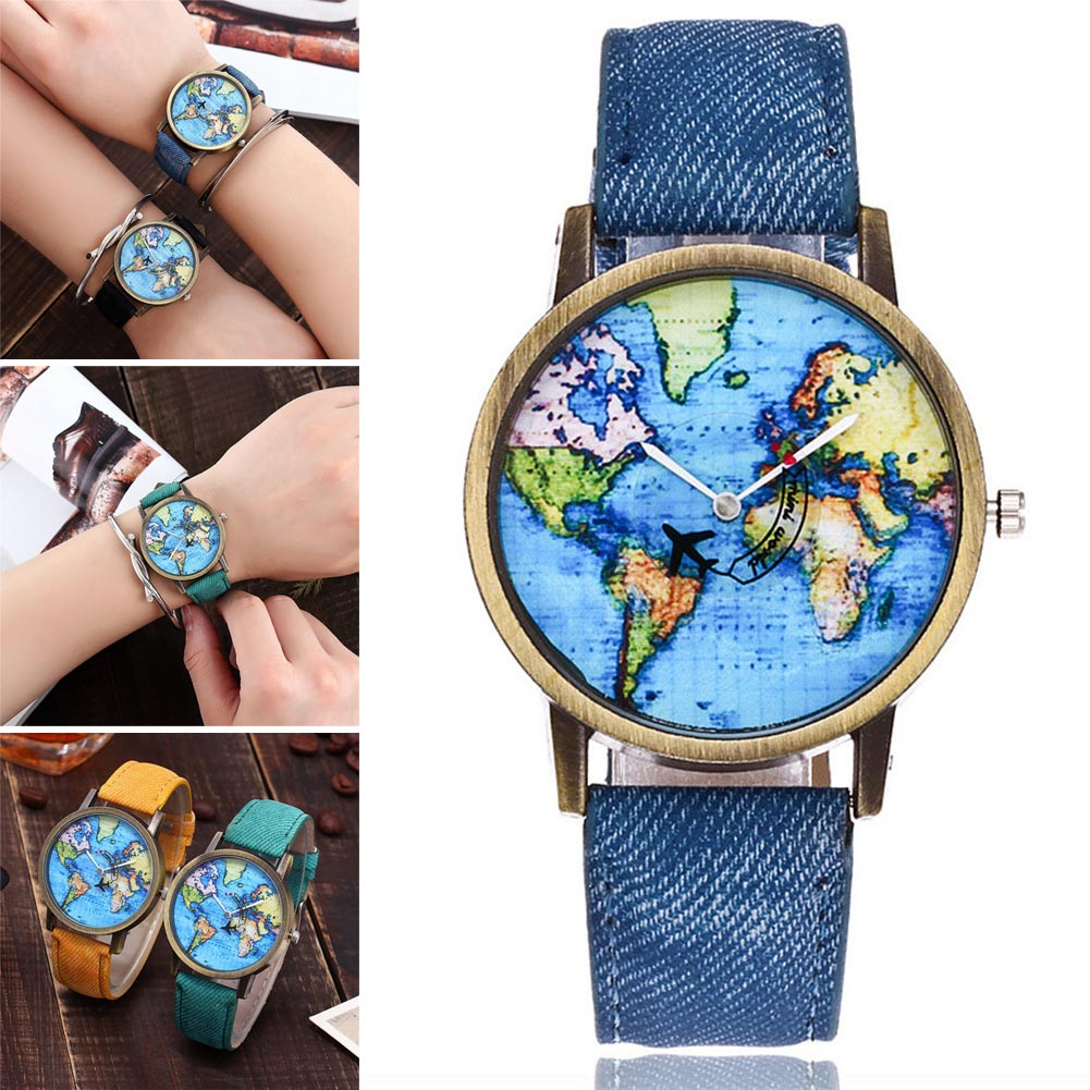 Student Women Men Wrist Watch Round World Map Airplane Stainless Steel Fashion Gift LXH