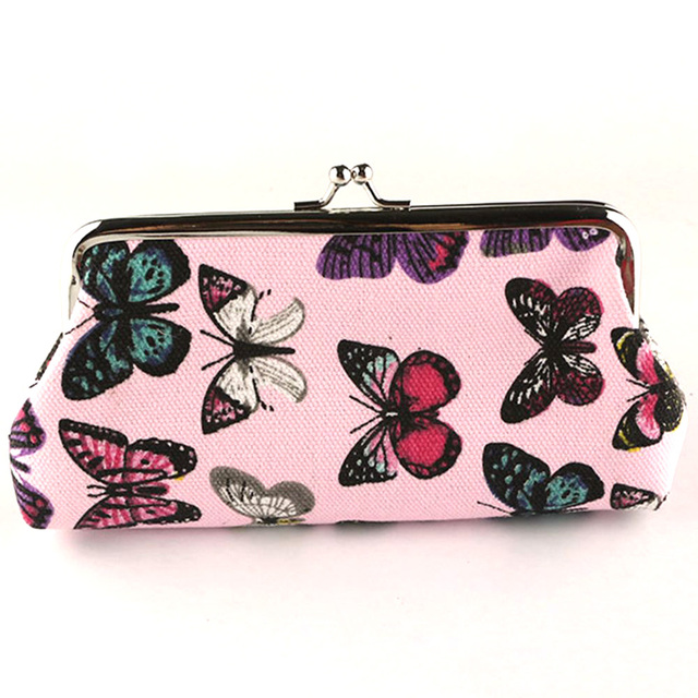 Fashion Butterfly printing canvas student pink wallet card holder coin bag Clutch long coin purse for girl gifts Coin Purses & Holders
