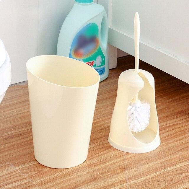 ANHO Plastic Prullenbak En Toiletborstel Set Creatieve WC Borstel ...