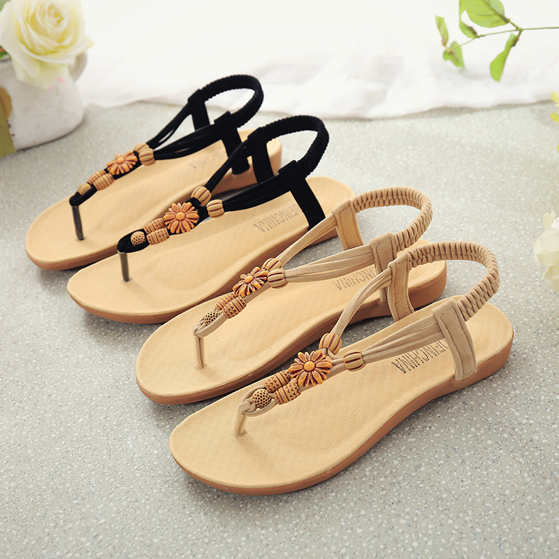 35313cf36 New Fashion Summer Women Sandals Casual Elastic Band String Bead Ankle  Strap Flat With Girls Shoes Black Beige Plus Size EU35 40-in Women's Sandals  from ...
