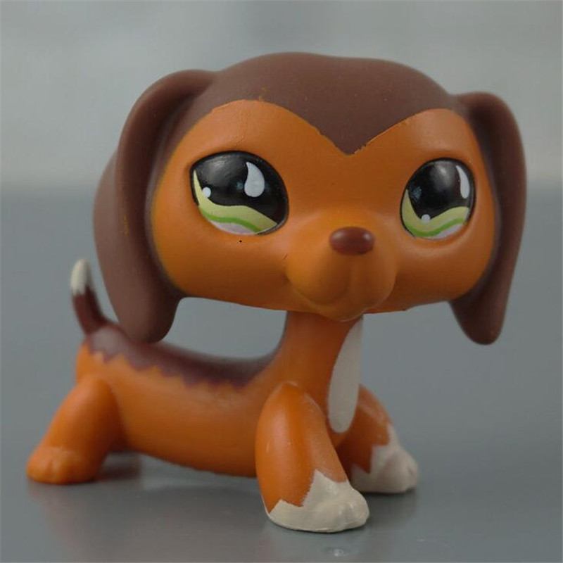 lps pet shop CAT Dachshund #665 Rare Style Sausage Dog Kids Toy Brown Body With Green Eyes