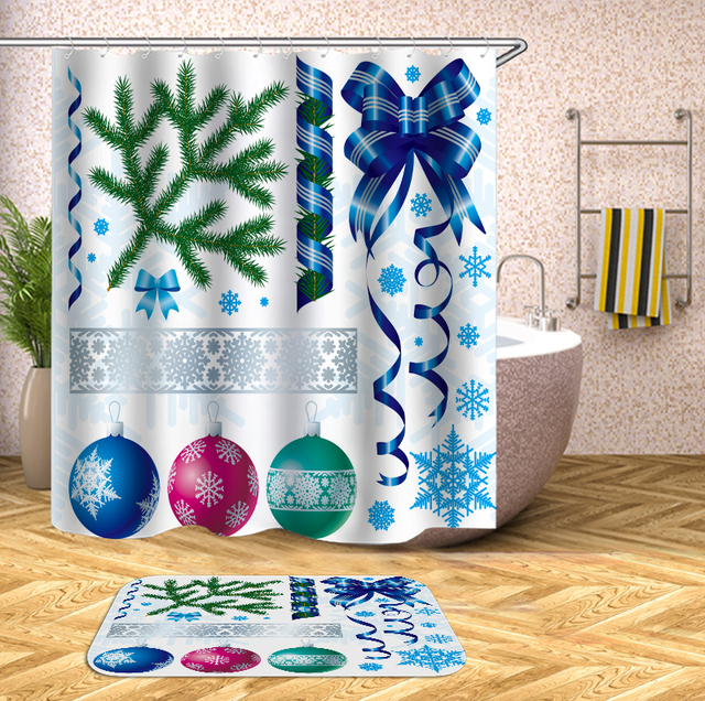 Dropshipping Christmas Shower Curtain Fabric Decorations Polyester Bathroom Set With Mat Hooks Customized