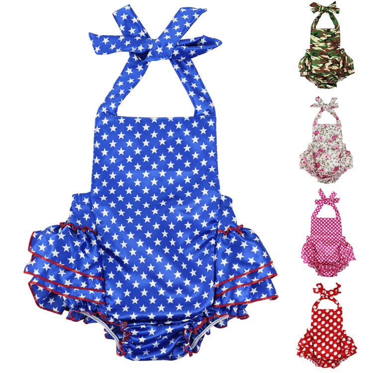 Baby Clothes Halter Back and Ruffle Bottom Floral Girls romper Jumpsuit 0-36M Sleeveless Toddler Girl Romper Photography Props