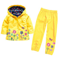 Fashion Long Sleeve 2 To 6 Years Nylon Waterproof Cotton Lining Little Toddler Girl Clothes 2017