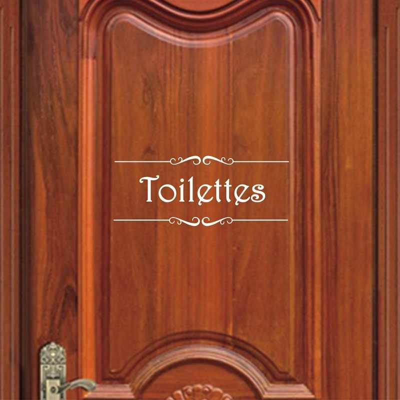 Porte Salle de Bain et สติ๊กเกอร์ติดผนังสติ๊กเกอร์ภาษาฝรั่งเศสคำห้องน้ำห้องน้ำสติกเกอร์ภาพจิตรกรรมฝาผนัง Decals สติ๊กเกอร์ติดผนังไวนิล Home Decor