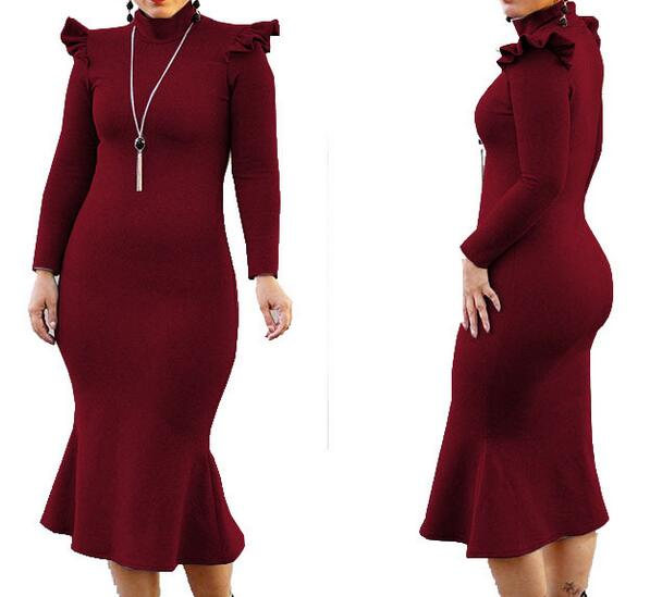 Women Fashion Long Ruffle font b Dress b font Casual Stylish font b Prom b font