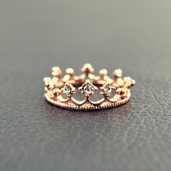 Princess Crown Ring Trendy Jewelry Gold Wedding Engagement Ring For Women 5