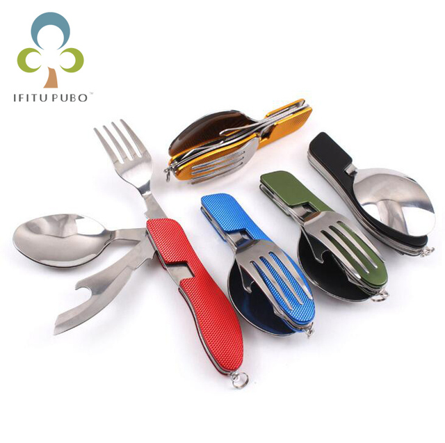 Portable 3 in 1 Folding Stainless Steel Spoon Fork Knife Tableware Multi Tool for Travel Outdoor Camping Hiking GYH