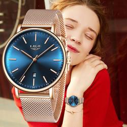 LIGE женские часы лучший бренд класса люкс Простые ультра-тонкие кварцевые часы женские из нержавеющей стали водостойкие часы Montre Femme 2018 +
