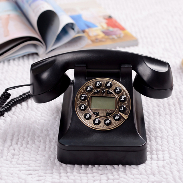 US $65 45 |Black Retro Dial Phone Antique Rotary Phone Push button  Telephone Vintage Touch tone dialing Corded phone NO 8886A-in Telephones  from