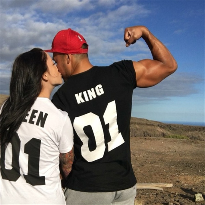 For Men Women Family T-shirt Clothes Femme Tshirt Streetwear Tee Shirt Homme Black White T Shirt Women King Queen Couple T Shirt