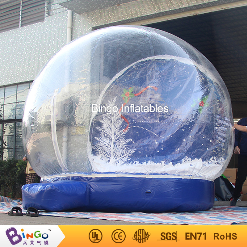 Free Delivery 4 Meters Inflatable Christmas snow globe high quality transparent blow up snow globe for kids and adults toys snow boots free delivery of autumn and winter high quality 100