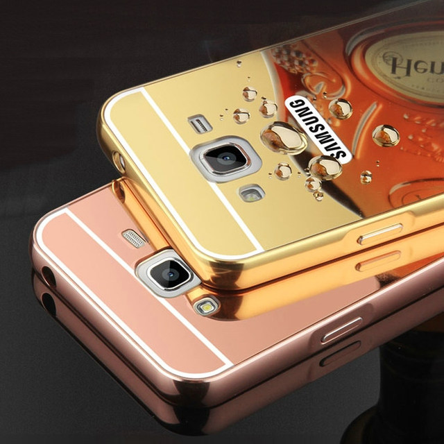 on sale 16938 5d76c US $3.99 |Mirror Back Cover Case for Samsung Galaxy J3 (2016) J320 J320F  J320P J3109 J320M J320Y Aluminum Metal Frame Hot Phone Cases-in Fitted  Cases ...