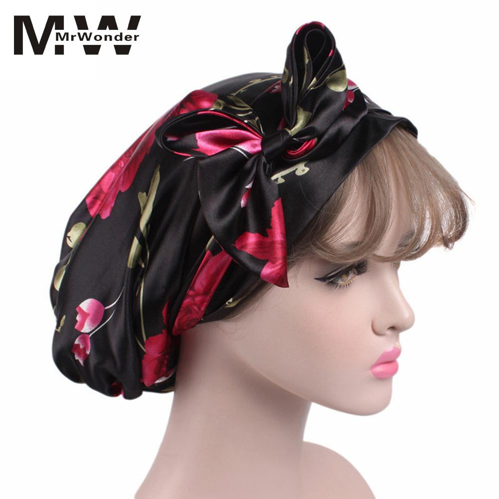 mrwonder Women Fashion Elegant Satin Cloth Beanie Hat Soft Bowknot Chemotherapy Cap SAN0