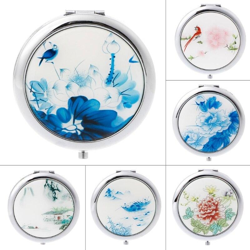 Spiegel Haut Pflege Werkzeuge Ehrlich Klassische Chinesische Traditionellen Stil Tragbare Mini Tasche Schminkspiegel Fashion Doppelt Gefaltet-seite Einfache Make-up-tool Spiegel Neue