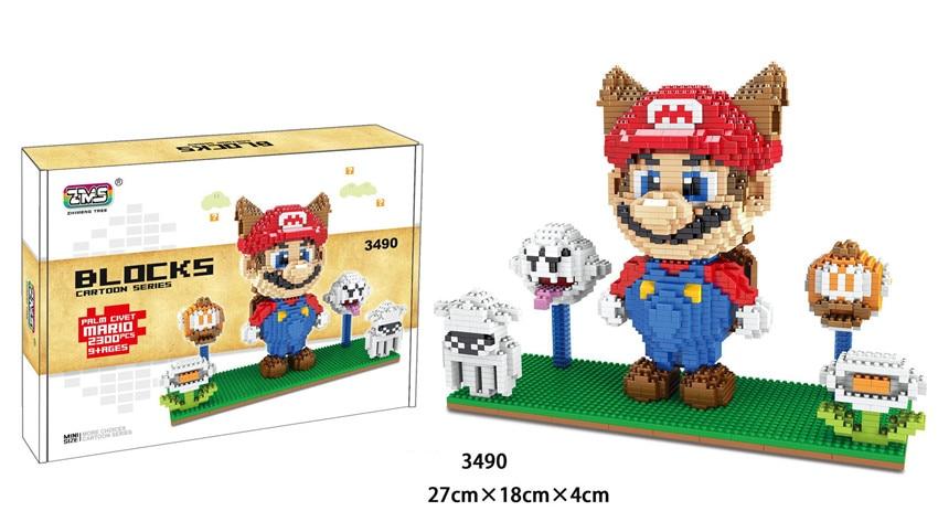 Image 3 - ZMS Game Super Mario Luigi Yoshi Bowser Fire Cat Mario DIY Mini Building Micro Diamond Blocks Brick Kids Toy Flower Coin box-in Blocks from Toys & Hobbies