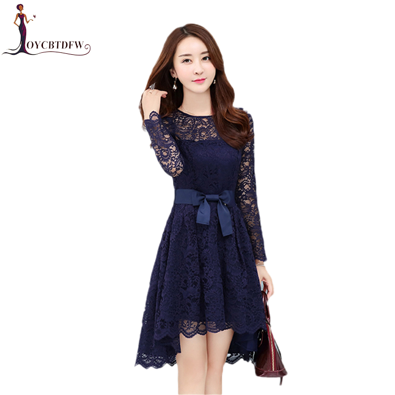 Nouvelle Mode D'aronde dark Blue Irrégulière Qualité 2018 Couleur Black Slim Longue Dentelle Solide Mi Haute Tempérament Fashion110 De Queue Printemps Robe wvmNn80O