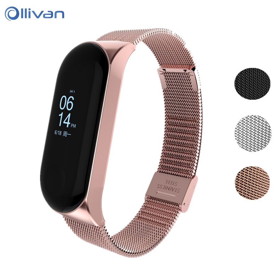 Metal Strap For Xiaomi Mi Band 3 Stainless Steel band For MiBand 2