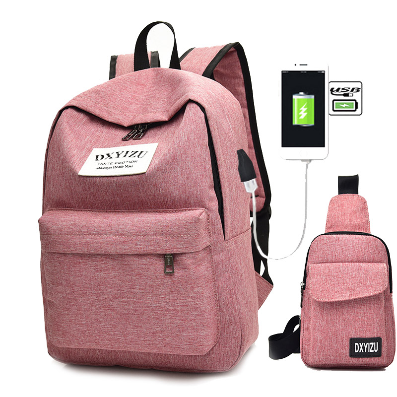 2 pçs/set mulheres mochila feminina saco de escola lona mochila de carregamento usb mochilas para meninas adolescentes bolsa de ombro