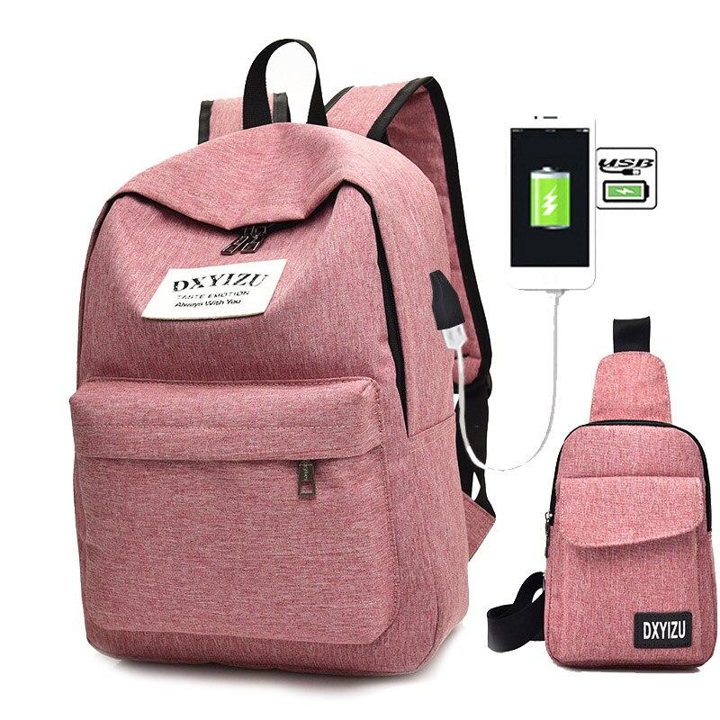 2pcs/Set Small Women Backpacks Female School Bag For Teenage Girls Black Canvas Women Backpack USB Charge Shoulder Bag Rucksack