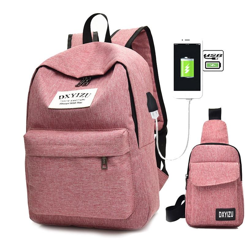 2pcs/set Women Backpack Female School Bag Canvas Women Backpack Usb Charging Backpacks For Teenage Girls Shoulder Bag Rucksack