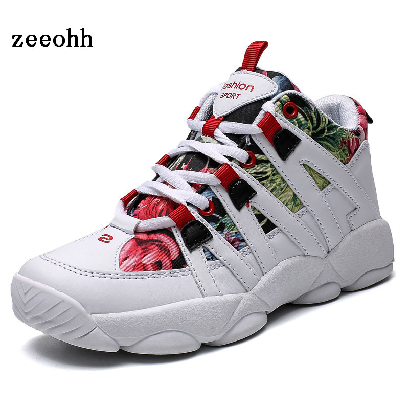 zeeohh Autumn Medium Cut Flower Cloth Couple Running Shoes Folding Resistant Anti slip Thick soled Shoes Unisex Sport Sneakers