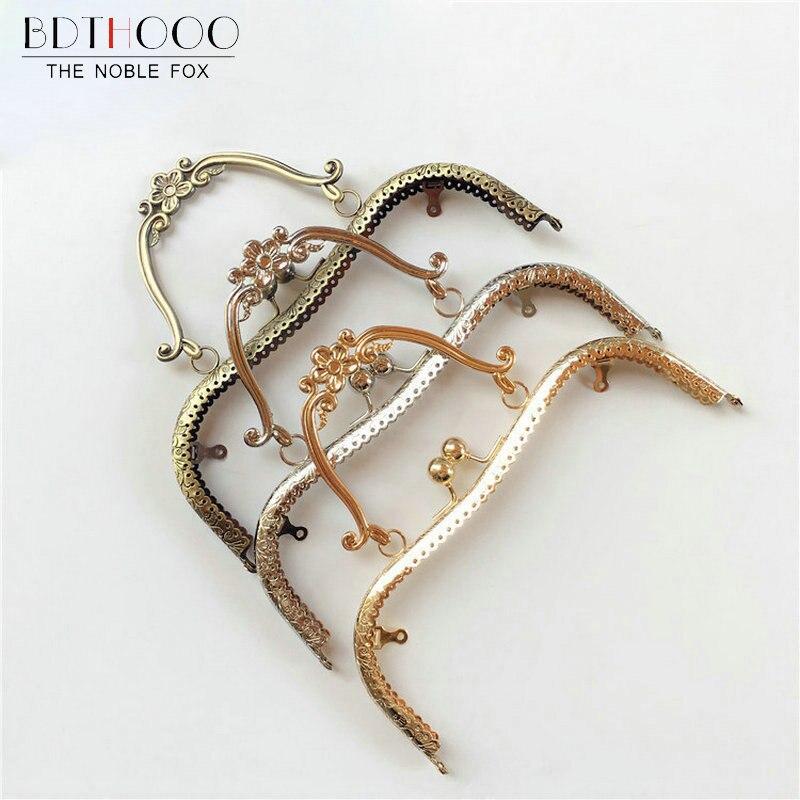 BDTHOOO 10pcs/lot 20.5cm Metal Purse Frame Handles Vintage Kiss Clasp Lock Bronze For DIY Coin Purses Clutch Handbag Accessories