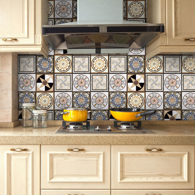 Yanqiao Traditional Mexican Talavera Tiles Sticker Bathroom Kitchen Backsplash Decoration Waterproof Removable Decal Art Decor
