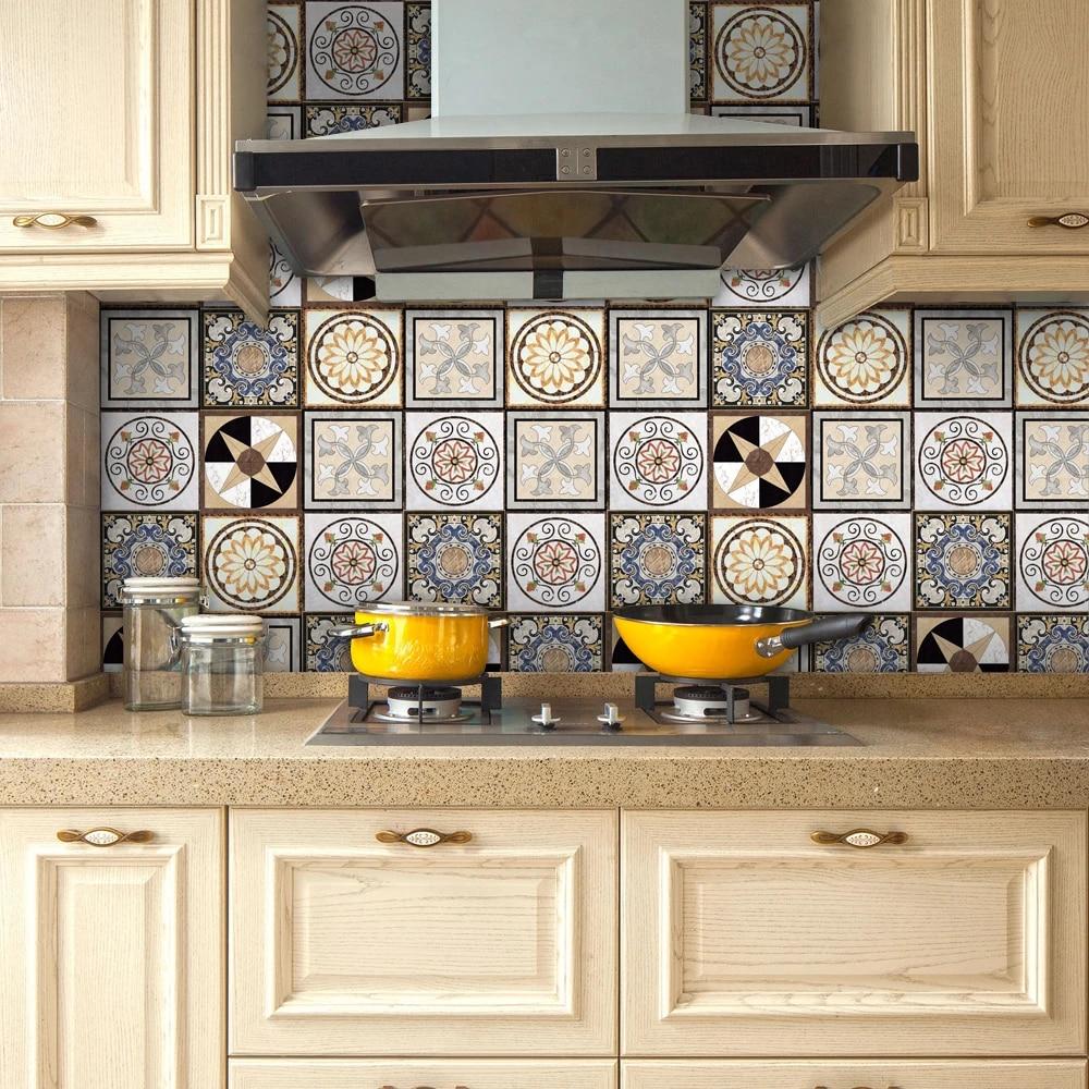 yanqiao traditional mexican talavera tiles sticker bathroom kitchen backsplash decoration waterproof removable decal art decor