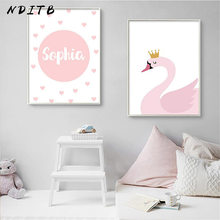 NDITB Personal Name Custom Poster Cartoon Pink Swan Nursery Print Painting Decorative Picture Baby Girls Living Room Decoration(China)