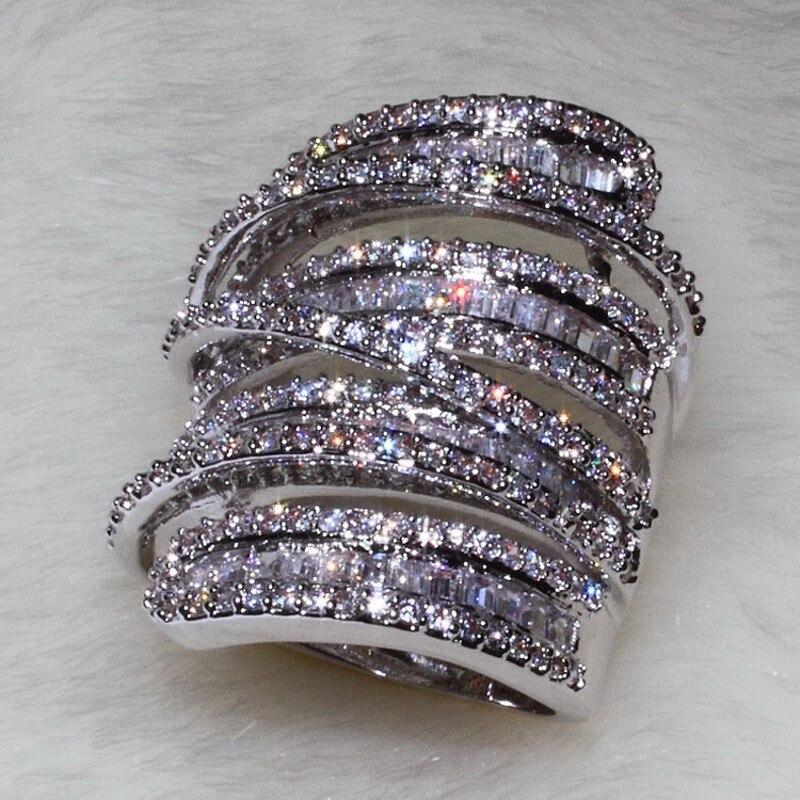 Choucong Donne Degli Uomini di Modo anello Largo Gioielli 20ct AAAAA zircone cz 925 Sterling Silver Fidanzamento Wedding Band Ring