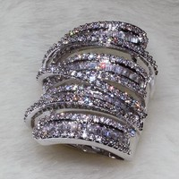 choucong Women Men Fashion ring Wide Jewelry 20ct AAAAA zircon cz 925 Sterling Silver Engagement Wedding Band Ring
