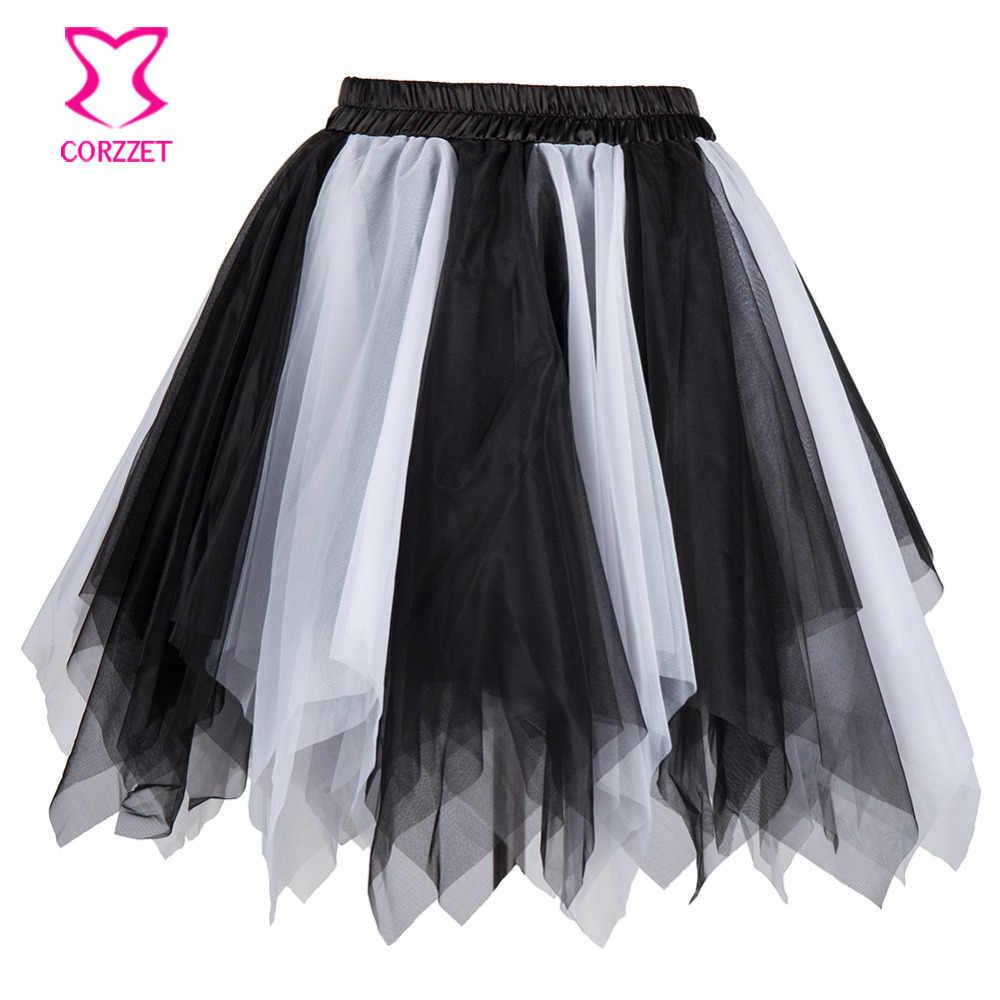 שחור לבן רב שכבתי טול סימטרי סקסי גותי מחוך קצר מיני Pettiskirt טוטו תחתונית תחתוניות חצאית Woment