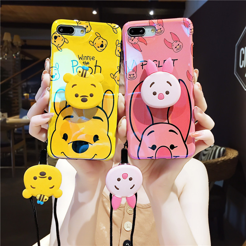 3pcs For iPhone 7 7plus piglet case, cartoon Winnie blue ray soft back cover For iPhone X XS max XR 8 8plus 6 6S 6p + toy +strap winnie the pooh iphone case