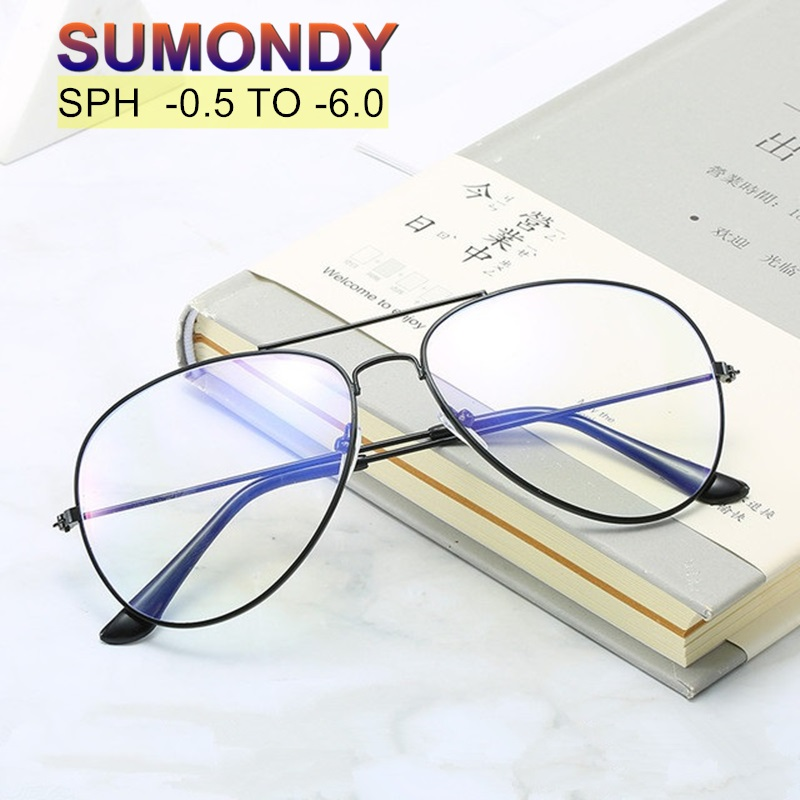 SUMONDY Prescription Glasses For Myopia SPH 0 To -6.0 Women Men Fashion Spectacles For Nearsighted With Dioptre End Product UF51