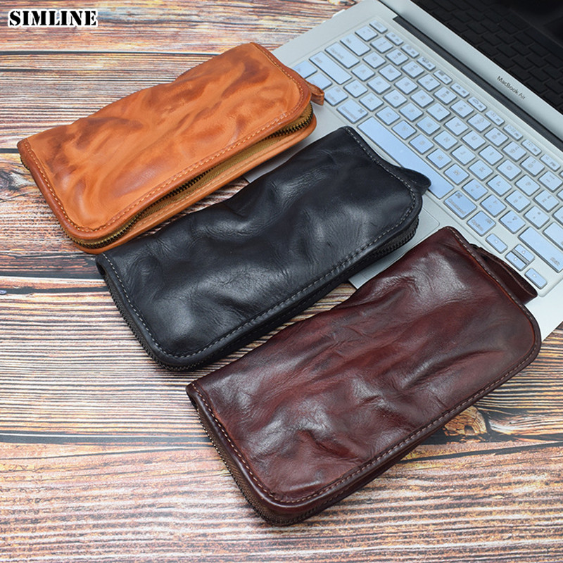 Luxury Genuine Leather Long Wallet Clutch Bag Men Zipper Brand Designer Vintage Handmade Vegetable Tanned Cowhide