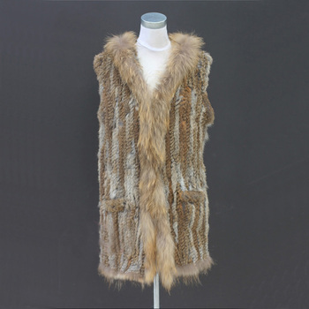 Real Long Knitted Rabbit Fur Vest Raccoon Fur Collar With Hooded Pockets Gilet