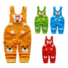 hot deal buy baby boys girls overalls 2018 new fashion kids cartoon cute suspender baby pants baby rompers outfits children clothing 1-3t