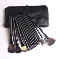 15pcs Professional Makeup Brushes Set Black Leather Case Powder Foundation Eyeshadow Cosmetics Make Up Essentials Makeup