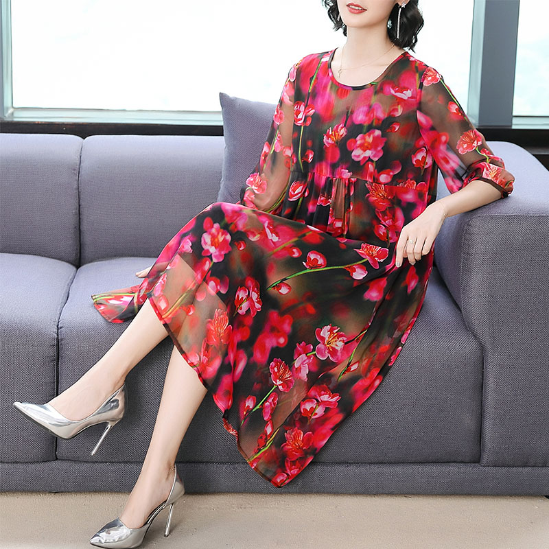 Red Flowing Silk Dress Women Summer Plus Size High Quality Dresses Woman Party Night Floral Print 2019 Midi Elegant Clothing