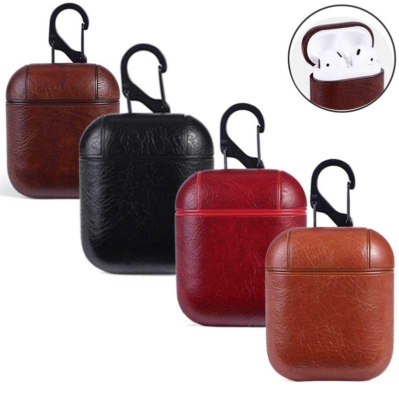 Leegoal Auricolare Custodia Per Apple Airpods cinturino In Vera Pelle di Cuoio con Bottoni Caso della cuffia del Trasduttore Auricolare accessori