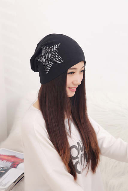 placeholder Free shipping autumn and winter beanies diamond turban Pentacle  cap skullies hip-hop stocking hat e2c02f582555