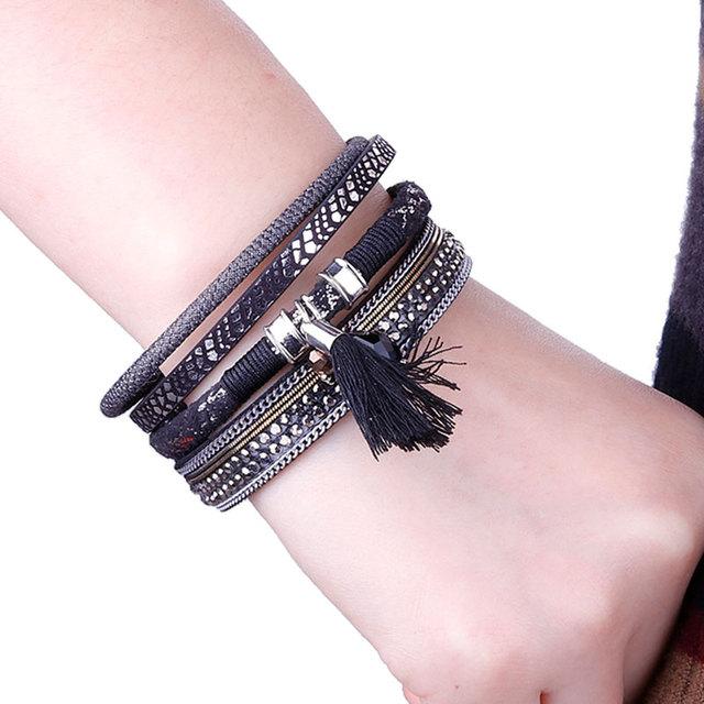 Tassel Embellished Leather Bracelet for Women