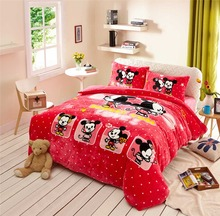 Flannel mickey minnie mouse bedding set queen twin size duvet cover+flat bed sheet+pillow case soft fleece fabric girl kid boys