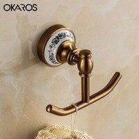 OKAROS Euro Robe Hook Cloth Hook Antique Space Aluminum Towel Rack Hook Coat Hook Decorative Wall
