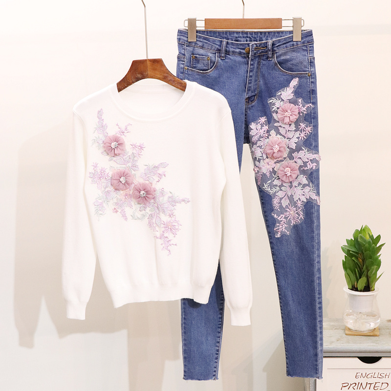 2018 Autumn Women's New Fashion Bead Embroidered Long Sleeve Knitted Sweater + Slim Jeans Suit Girl Student Two Piece Set