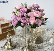 5 heads High quality Rose Peony Artificial Silk Flowers bouquet wedding flores birthday party home decorations