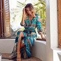 Новый 2017 Весна Этническом Стиле Платья Оптовая Моды V-образным Вырезом Стиль Одежды Печатных Новое Лето Мода Повседневная Женщины Чешские Dr